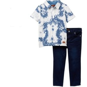 7 For All Mankind 2T Ink Spill Shirt/Jean Set-NEW